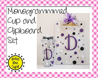 Monogrammed Cup, Clipboard Set - Personalized Acrylic Cup 20 oz Tumbler and Acrylic Clipboard BPA FREE