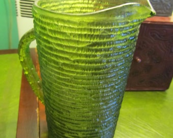 Vintage Anchor Hocking Green Glass Soreno Pitcher