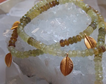 SALE  - 24k Gold Vermeil Daphne Bay Leaf Necklace with Green Garnet Ombre' Gemstones in Ancient Style