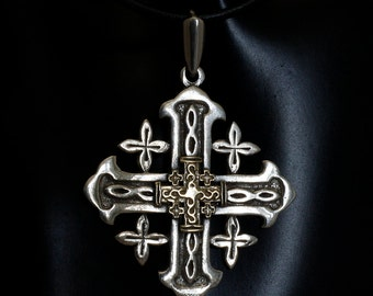 Silver with Gold Jerusalem Cross on black Necklace.Jerusalem cross pendant necklace . Free  shipping.