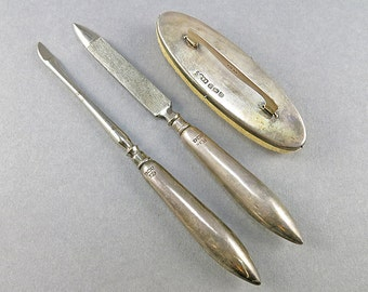 Antique Sterling Manicure Set English Hallmark Sterling Silver Nail File 1920s Silver Accessories Antiques Collectibles