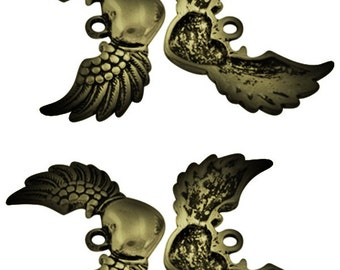4 x Antique Bronze Winged Heart - Tattoo Charms - Angel Wings - 36.5mm x 25.5mm  - Love Heart Wing - TS152