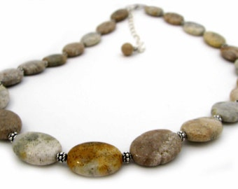 Fossilized Coral and Sterling Silver Necklace