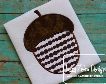 Acorn Applique embroidery Design - Nut applique design - acorn applique design - fall applique design