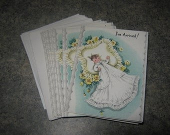 Vintage Baby Infant Announcement Cards