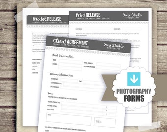 Photography Business Forms - Client Agreement, Print Release, Model Release Forms for Photographers - PSD Template 8.5x11 INSTANT DOWNLOAD