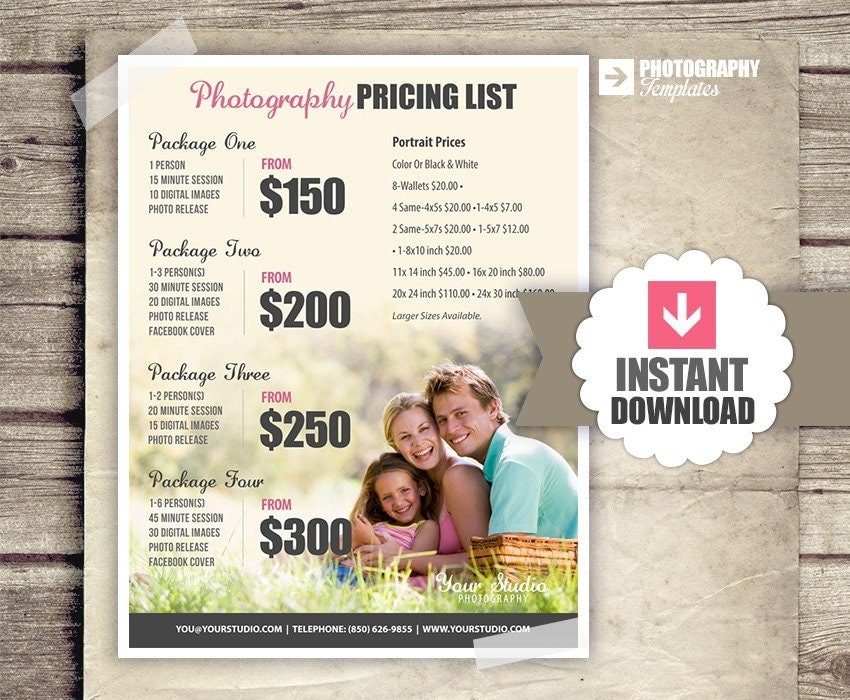 photography price list pricing list for photographers. Black Bedroom Furniture Sets. Home Design Ideas