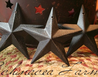 3 Rustic Black Barn Stars - 3.5 inch -  Craft Supply Country Cottage Farmhouse Lodge Ornie Ornament Christmas