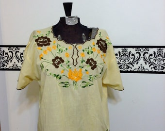 Pale Yellow Embroidered Peasant Blouse 1960's Hippie Style