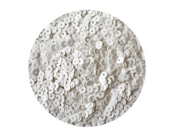 3mm Flat Round Sequins Satin White. Made in USA