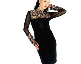 Black Elegant Dress with Black Lace Inset Alethia