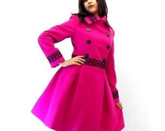 Coat - Fuchsia Cashmere Coat - Wool Jacket -Pleated Coat - Winter Wool Coat - Jacket  - Custom Made - Double Breasted - Wool Jacket Nadine