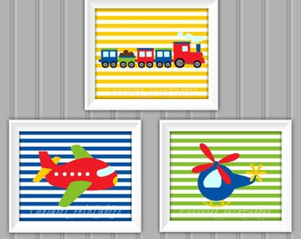 Transportation Wall Art Set, Transportation Wall Art, Instant Download, Childrens Wall Art, Kids Wall Art, Nursery Wall Art, DIY Wall Art
