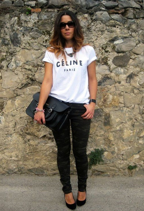 Celine paris t shirt tee shirt rihanna tour comme hype geek tee shirt top on the hunt Celine fashion street style