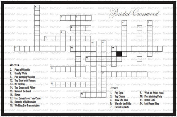 Crossword Puzzle for the Bride & Groom Digital File