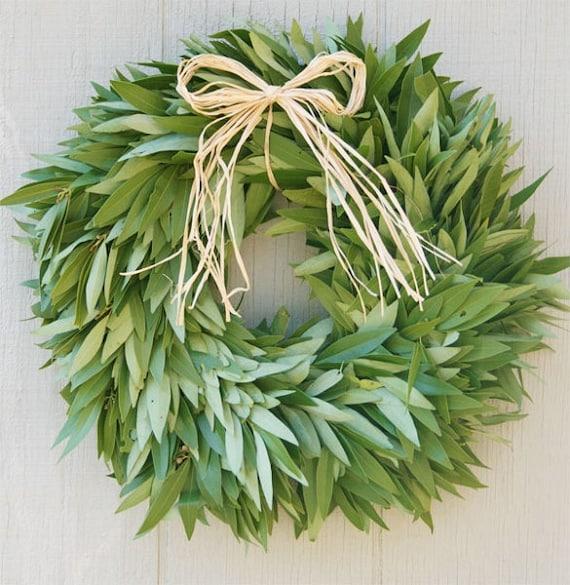 Fresh Bay Leaf Wreath with Raffia Bow