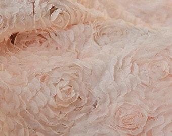 "Lace Fabric Light Pink 3D Large Rose Soft Lace Wedding Fabric 51.18"" width 1 yard"
