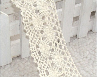 "Free Shiping Lace Trim White Cotton Lace Fabric Wedding Fabric 2.16"" width 3 yards"