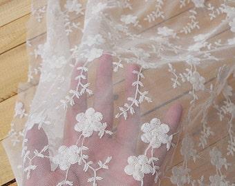 "Lace Fabric White Flower Embroidery Fabric Wedding Fabric DIY Handmade 45.2"" width 1 yard"