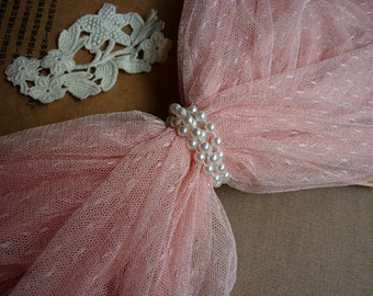 1 yard Pink Little Dots Veil Lace Tulle Gauze Lace Fabric Wedding CostumeHeadwear Supplies 61 Inches Wide