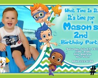 Bubble Guppies Invitation  You Print  Digital File Birthday Party Invite with photo