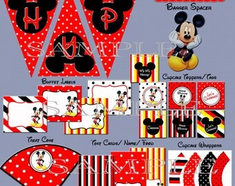 Mickey Mouse Party Package Birthday INSTANT DOWNLOAD - non-editable PDF files Printable Party Pack - Matches Mickey Mouse Invitation