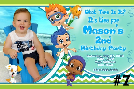 Bubble Guppies Birthday Party Invitation Printable File – Bubble Guppies Party Invites
