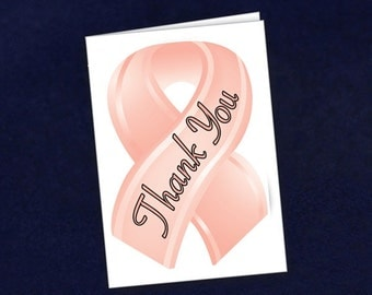 Small Peach Ribbon Thank You Cards (STY-20)