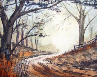 Country Lane Early Morning Watercolour Print. From an Original Painting by Artist.T J Cleary. Heavy Art Paper