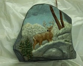 "Ceramc ""Rock"", with Deer on Rocks"