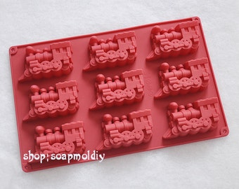 9-cavity Train Mold Cake Mold Mould Soap Mold Silicone Mold Flexible Mold