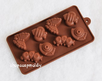 8- cavity Snail Butterfly Insect  Cake Mold Mould Silicone Mold Biscuit Mold Chocolate Mold Soap Mold
