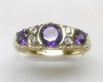 Brand New -----  Amethyst Diamond Ring in 14K Yellow Gold  ----- ON SALE