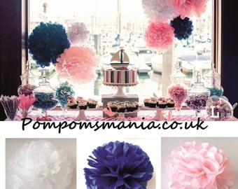 Set of 15 units (4+5+6) of  tissue paper pom poms - handmade - lots of colours to choose from
