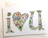 """5x7 """"I Heart You"""" Valentine Card - Print of Original Watercolor - suitable for framing"""