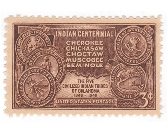 1948 3c Indian Centennial - 10 Unused Vintage Postage Stamps -  Item No. 972