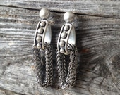 "SALE! Silver ""Durango"" Studded and Chain Earrings"