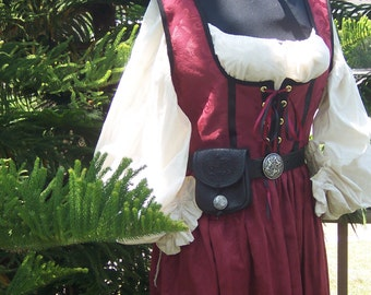 Irish Celtic Wine Brocade Renaissance Costume pirate lady wench dress gown with chemise