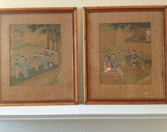 Antique Chinese Silk Paintings. Pair