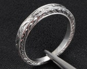 Art Deco Antique Style Wedding Band Filigree Milgrain Solid 14K White Gold Size 7, Same Day Shipping