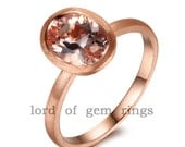 Solid 14K Rose Gold Satin Finish 6x8mm Oval VS Morganite Engagement Ring Wedding Ring Promise Ring