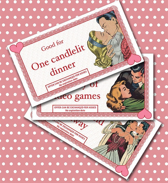 Retro Romantic Love Coupons For Boyfriend Or Husband