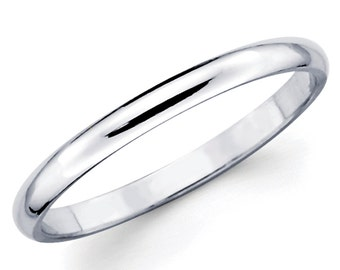 14K Solid White Gold 2mm Plain Wedding Band Ring