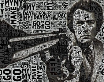 "Clint Eastwood Dirty Harry on 3/4"" Stretched Canvas"