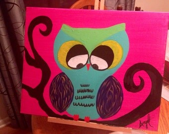 Cute Owl on a whimsical tree 16x20 canvas