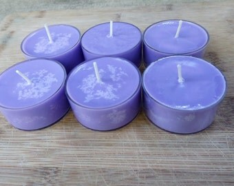 Lavender Soy Tea Light Candles - Set of 25 Scented Soy Tea Lights - Floral Candles - Purple Candles - Hand Made Candles