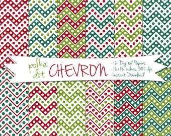 Digital Christmas Paper // Chrismas Card Paper // Chevron Christmas Paper // Christmas Polka Dot Paper