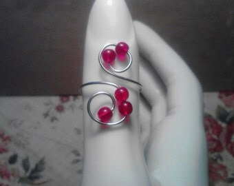 "Adjustable Silver Wire and Red ""Pearls"" Ring"