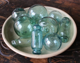 Set of 9 Vintage Hand-blown Japanese Glass Fishing Floats - FREE SHIPPING