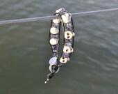 Purple Beaded Skull Wrap Bracelet - single wrap with button closure